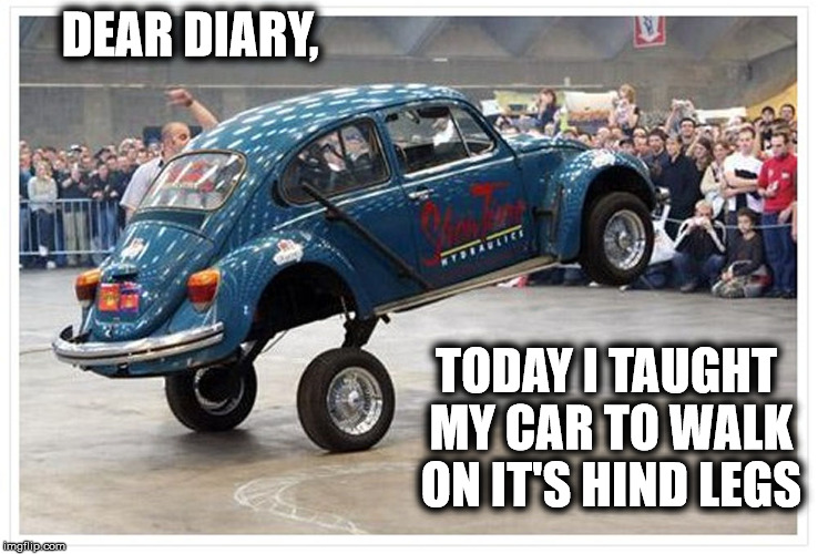 Next week, I'll train it to fetch my slippers. | DEAR DIARY, TODAY I TAUGHT MY CAR TO WALK ON IT'S HIND LEGS | image tagged in memes,volkswagon,car trick | made w/ Imgflip meme maker
