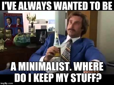 Well That Escalated Quickly Meme | I'VE ALWAYS WANTED TO BE A MINIMALIST. WHERE DO I KEEP MY STUFF? | image tagged in memes,well that escalated quickly | made w/ Imgflip meme maker