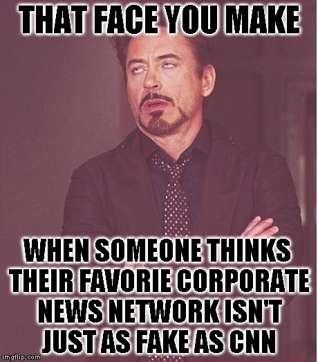 That goes for MSNBC, FOX, BBC, CBS, ABC, etc. etc. etc... | THAT FACE YOU MAKE WHEN SOMEONE THINKS THEIR FAVORIE CORPORATE NEWS NETWORK ISN'T JUST AS FAKE AS CNN | image tagged in memes,face you make robert downey jr,cnn,fake news,mainstream media,russia | made w/ Imgflip meme maker