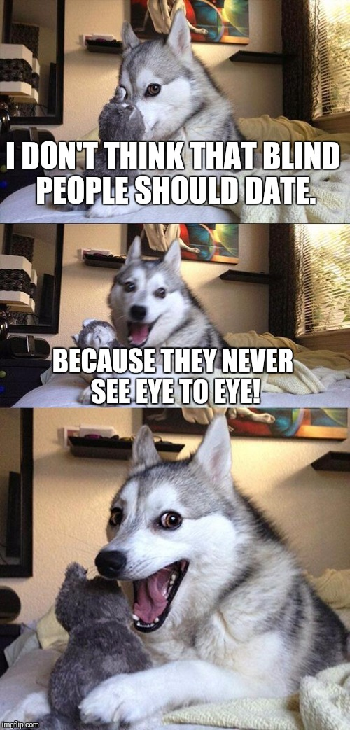 Bad Pun Dog Meme | I DON'T THINK THAT BLIND PEOPLE SHOULD DATE. BECAUSE THEY NEVER SEE EYE TO EYE! | image tagged in memes,bad pun dog | made w/ Imgflip meme maker