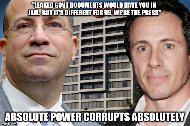 "smug assholes | ""LEAKED GOVT DOCUMENTS WOULD HAVE YOU IN JAIL.  BUT IT'S DIFFERENT FOR US, WE'RE THE PRESS"" ABSOLUTE POWER CORRUPTS ABSOLUTELY 