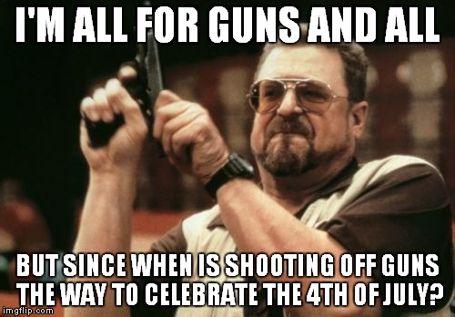 To my neighbor with the pistol... | I'M ALL FOR GUNS AND ALL BUT SINCE WHEN IS SHOOTING OFF GUNS THE WAY TO CELEBRATE THE 4TH OF JULY? | image tagged in memes,4th of july,guns | made w/ Imgflip meme maker