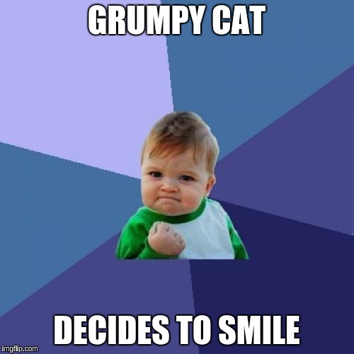 Success Kid Meme | GRUMPY CAT DECIDES TO SMILE | image tagged in memes,success kid | made w/ Imgflip meme maker