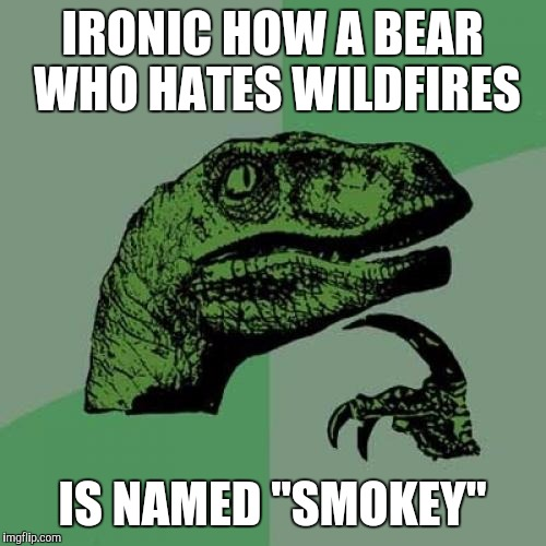 "Philosoraptor Meme | IRONIC HOW A BEAR WHO HATES WILDFIRES IS NAMED ""SMOKEY"" 