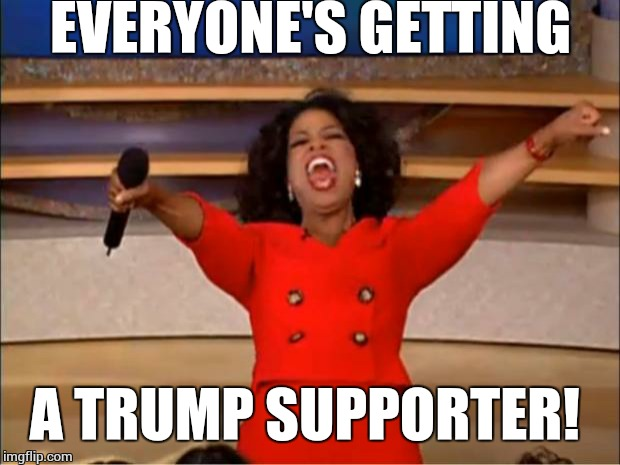 Oprah You Get A Meme | EVERYONE'S GETTING A TRUMP SUPPORTER! | image tagged in memes,oprah you get a | made w/ Imgflip meme maker