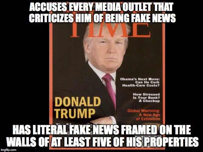 Literal Fake News | image tagged in donald trump,time magazine,fake news,mar-a-lago | made w/ Imgflip meme maker