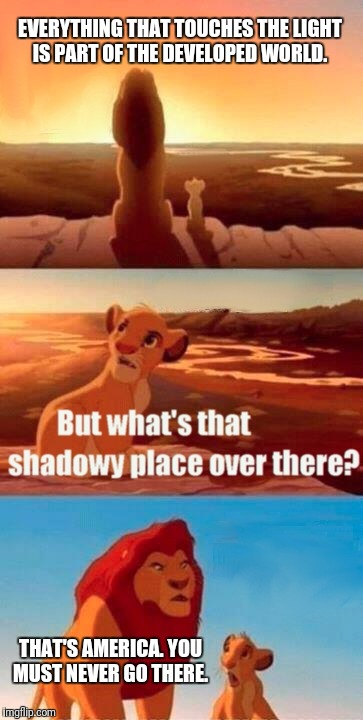 Simba Shadowy Place Meme | EVERYTHING THAT TOUCHES THE LIGHT IS PART OF THE DEVELOPED WORLD. THAT'S AMERICA. YOU MUST NEVER GO THERE. | image tagged in memes,simba shadowy place | made w/ Imgflip meme maker