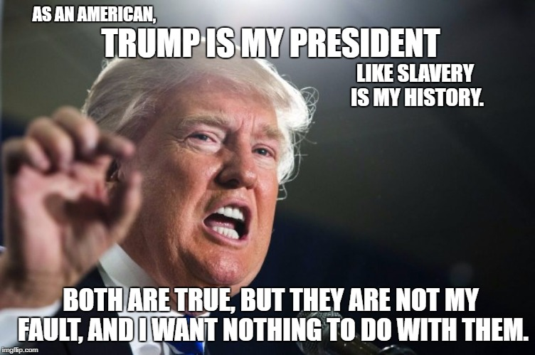 Not my fault | TRUMP IS MY PRESIDENT BOTH ARE TRUE, BUT THEY ARE NOT MY FAULT, AND I WANT NOTHING TO DO WITH THEM. AS AN AMERICAN, LIKE SLAVERY IS MY HISTO | image tagged in donald trump,not my president | made w/ Imgflip meme maker