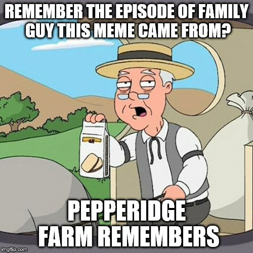 Pepperidge Farm Remembers Meme | REMEMBER THE EPISODE OF FAMILY GUY THIS MEME CAME FROM? PEPPERIDGE FARM REMEMBERS | image tagged in memes,pepperidge farm remembers | made w/ Imgflip meme maker