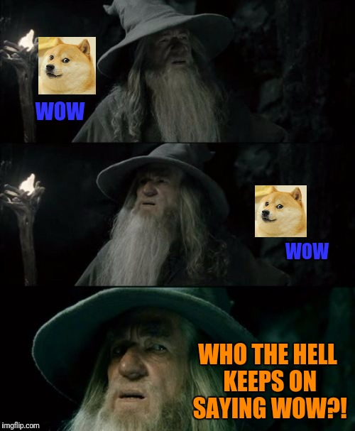Confused Gandalf Meme | WOW WOW WHO THE HELL KEEPS ON SAYING WOW?! | image tagged in memes,confused gandalf | made w/ Imgflip meme maker