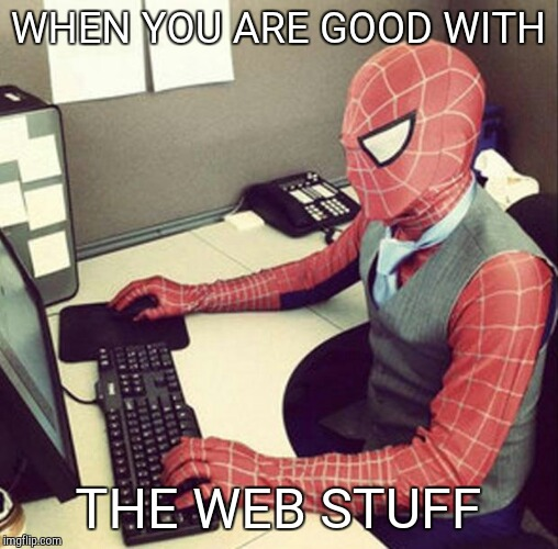 Bussiness spiderman  | WHEN YOU ARE GOOD WITH THE WEB STUFF | image tagged in bussiness spiderman | made w/ Imgflip meme maker
