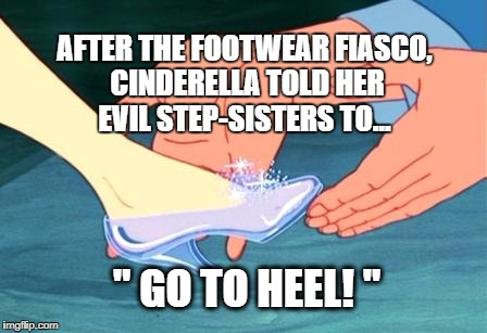 "cinderella shoe fits | AFTER THE FOOTWEAR FIASCO, CINDERELLA TOLD HER EVIL STEP-SISTERS TO... "" GO TO HEEL! "" 