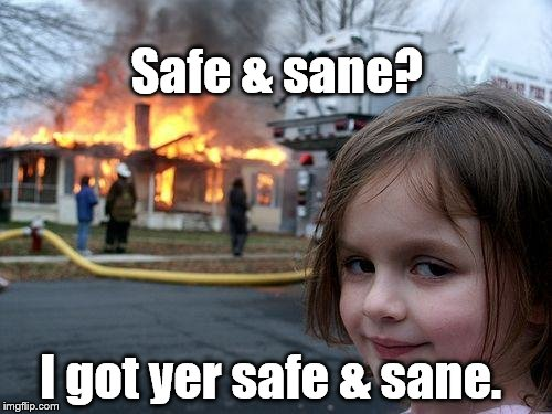 Disaster Girl Meme | Safe & sane? I got yer safe & sane. | image tagged in memes,disaster girl | made w/ Imgflip meme maker