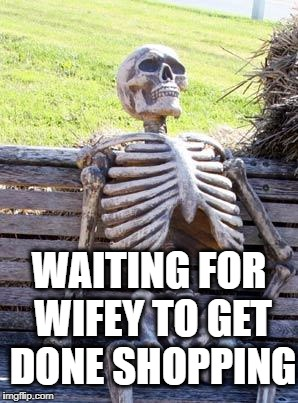 Hopefully nobody will realize that this meme has been done 2000 times in the last month ALONE!!!!! | WAITING FOR WIFEY TO GET DONE SHOPPING | image tagged in memes,waiting skeleton | made w/ Imgflip meme maker