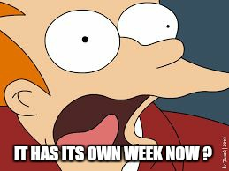 fry screaming  | IT HAS ITS OWN WEEK NOW ? | image tagged in fry screaming | made w/ Imgflip meme maker