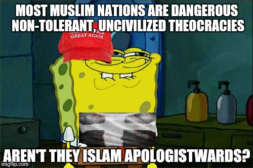 Dont You Squidward Meme | MOST MUSLIM NATIONS ARE DANGEROUS NON-TOLERANT, UNCIVILIZED THEOCRACIES AREN'T THEY ISLAM APOLOGISTWARDS? | image tagged in memes,dont you squidward | made w/ Imgflip meme maker