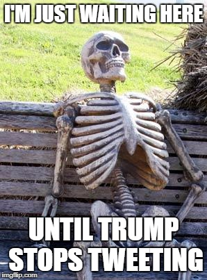 Waiting Skeleton Meme | I'M JUST WAITING HERE UNTIL TRUMP STOPS TWEETING | image tagged in memes,waiting skeleton | made w/ Imgflip meme maker