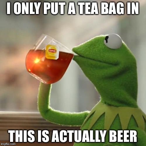 But Thats None Of My Business Meme | I ONLY PUT A TEA BAG IN THIS IS ACTUALLY BEER | image tagged in memes,but thats none of my business,kermit the frog | made w/ Imgflip meme maker