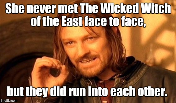 One Does Not Simply Meme | She never met The Wicked Witch of the East face to face, but they did run into each other. | image tagged in memes,one does not simply | made w/ Imgflip meme maker
