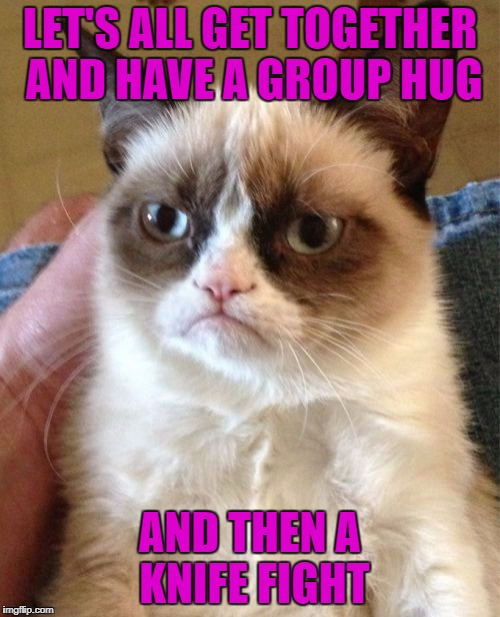 Grumpy Cat Meme | LET'S ALL GET TOGETHER AND HAVE A GROUP HUG AND THEN A KNIFE FIGHT | image tagged in memes,grumpy cat | made w/ Imgflip meme maker