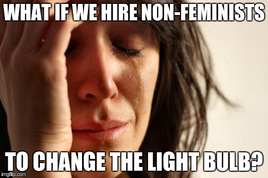 First World Problems Meme | WHAT IF WE HIRE NON-FEMINISTS TO CHANGE THE LIGHT BULB? | image tagged in memes,first world problems | made w/ Imgflip meme maker