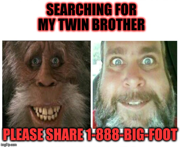 Lost brother | SEARCHING FOR MY TWIN BROTHER PLEASE SHARE 1-888-BIG-FOOT | image tagged in bigfoot,sasquatch,like and share,lost | made w/ Imgflip meme maker