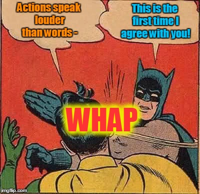 It's so nice to see them getting along! (◔◡◔) | Actions speak louder than words - This is the first time I agree with you! WHAP | image tagged in memes,batman slapping robin,actions speak louder than words,sayings,nonverbal communication,cliche police | made w/ Imgflip meme maker