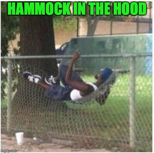 Guide To Better Living |  HAMMOCK IN THE HOOD | image tagged in in the hood | made w/ Imgflip meme maker