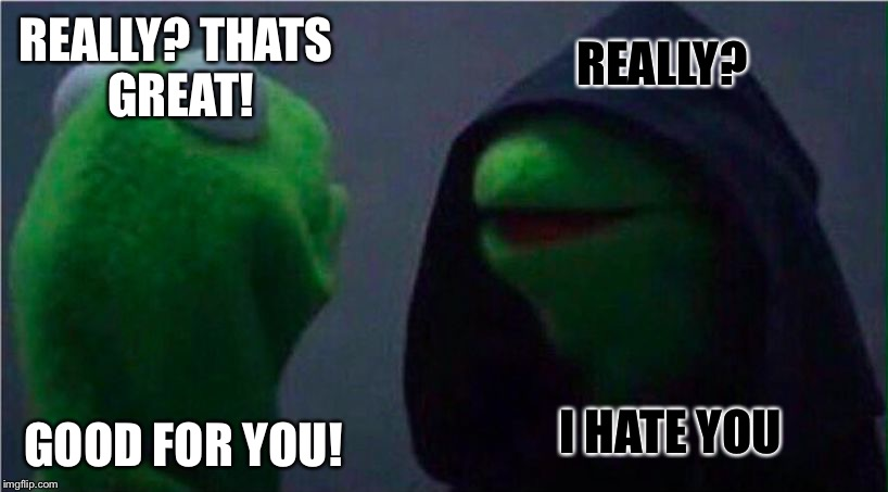 What I Said. What I Thought. | REALLY? THATS GREAT! GOOD FOR YOU! REALLY? I HATE YOU | image tagged in evil kermit,memes,funny | made w/ Imgflip meme maker