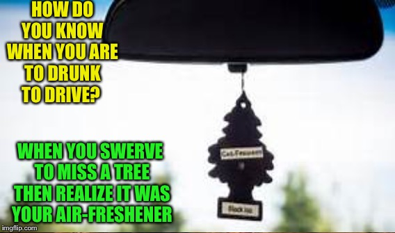 HOW DO YOU KNOW WHEN YOU ARE TO DRUNK TO DRIVE? WHEN YOU SWERVE TO MISS A TREE THEN REALIZE IT WAS YOUR AIR-FRESHENER | image tagged in memes | made w/ Imgflip meme maker