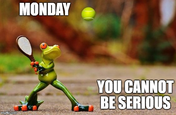 Start of Wimbledon  | MONDAY YOU CANNOT BE SERIOUS | image tagged in monday,wimbledon | made w/ Imgflip meme maker