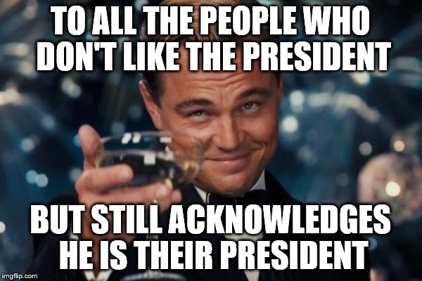 Leonardo Dicaprio Cheers Meme | TO ALL THE PEOPLE WHO DON'T LIKE THE PRESIDENT BUT STILL ACKNOWLEDGES HE IS THEIR PRESIDENT | image tagged in memes,leonardo dicaprio cheers | made w/ Imgflip meme maker