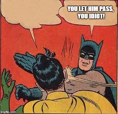 Batman Slapping Robin Meme | YOU LET HIM PASS, YOU IDIOT! | image tagged in memes,batman slapping robin | made w/ Imgflip meme maker