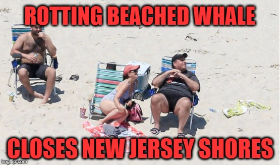Beached Whale in New Jersey | ROTTING BEACHED WHALE CLOSES NEW JERSEY SHORES | image tagged in chris christie | made w/ Imgflip meme maker