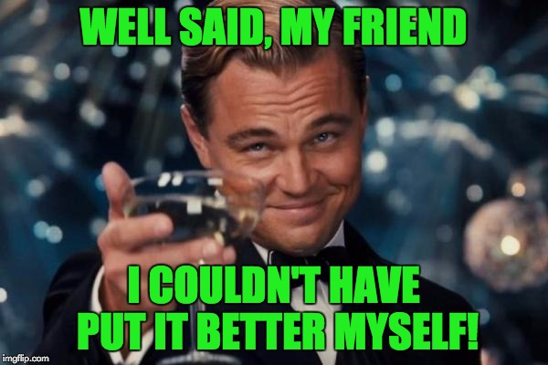 Leonardo Dicaprio Cheers Meme | WELL SAID, MY FRIEND I COULDN'T HAVE PUT IT BETTER MYSELF! | image tagged in memes,leonardo dicaprio cheers | made w/ Imgflip meme maker