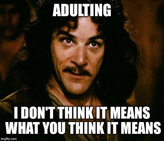 ADULTING I DON'T THINK IT MEANS WHAT YOU THINK IT MEANS | image tagged in i don't think it means what you think it means | made w/ Imgflip meme maker