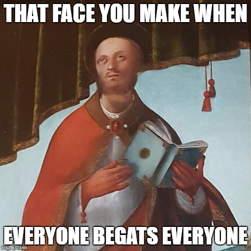 begat beget begats begets baguettes | THAT FACE YOU MAKE WHEN EVERYONE BEGATS EVERYONE | image tagged in eyeroll saint,that face you make when,bible,studying | made w/ Imgflip meme maker