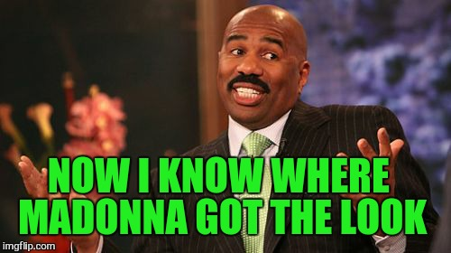 Steve Harvey Meme | NOW I KNOW WHERE MADONNA GOT THE LOOK | image tagged in memes,steve harvey | made w/ Imgflip meme maker