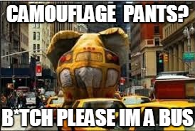 #CamoOp | CAMOUFLAGE  PANTS? B*TCH PLEASE IM A BUS | image tagged in camouflage,bus,meme | made w/ Imgflip meme maker