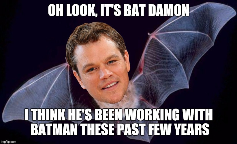 OH LOOK, IT'S BAT DAMON I THINK HE'S BEEN WORKING WITH BATMAN THESE PAST FEW YEARS | image tagged in bat damon | made w/ Imgflip meme maker
