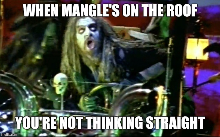 WHEN MANGLE'S ON THE ROOF YOU'RE NOT THINKING STRAIGHT | image tagged in rob zombie dragula | made w/ Imgflip meme maker