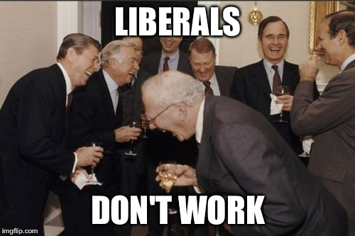 Laughing Men In Suits Meme | LIBERALS DON'T WORK | image tagged in memes,laughing men in suits | made w/ Imgflip meme maker