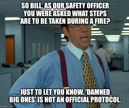 Corporate  run for your lives policy  | SO BILL, AS OUR SAFETY OFFICER YOU WERE ASKED WHAT STEPS ARE TO BE TAKEN DURING A FIRE? JUST TO LET YOU KNOW. 'DAMNED BIG ONES' IS NOT AN OF | image tagged in memes,that would be great,funny | made w/ Imgflip meme maker