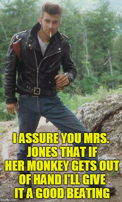 I ASSURE YOU MRS. JONES THAT IF HER MONKEY GETS OUT OF HAND I'LL GIVE IT A GOOD BEATING | made w/ Imgflip meme maker