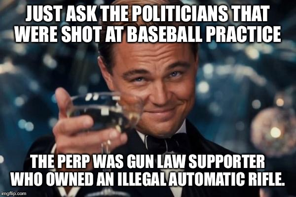 Leonardo Dicaprio Cheers Meme | JUST ASK THE POLITICIANS THAT WERE SHOT AT BASEBALL PRACTICE THE PERP WAS GUN LAW SUPPORTER WHO OWNED AN ILLEGAL AUTOMATIC RIFLE. | image tagged in memes,leonardo dicaprio cheers | made w/ Imgflip meme maker