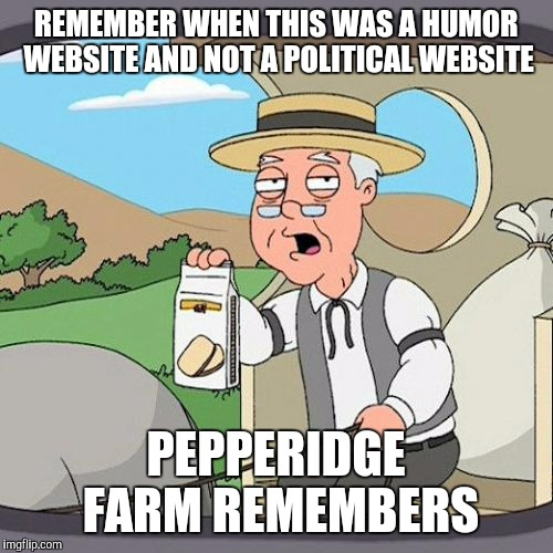 Pepperidge Farm Remembers Meme | REMEMBER WHEN THIS WAS A HUMOR WEBSITE AND NOT A POLITICAL WEBSITE PEPPERIDGE FARM REMEMBERS | image tagged in memes,pepperidge farm remembers | made w/ Imgflip meme maker