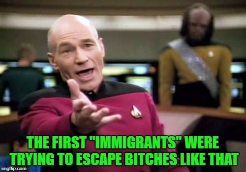 "Picard Wtf Meme | THE FIRST ""IMMIGRANTS"" WERE TRYING TO ESCAPE B**CHES LIKE THAT 