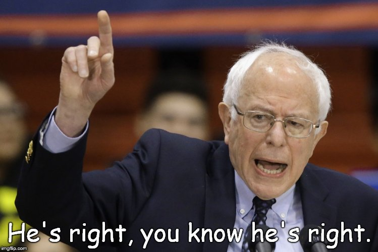 Bern, feel the burn? | He's right, you know he's right. | image tagged in bern feel the burn? | made w/ Imgflip meme maker