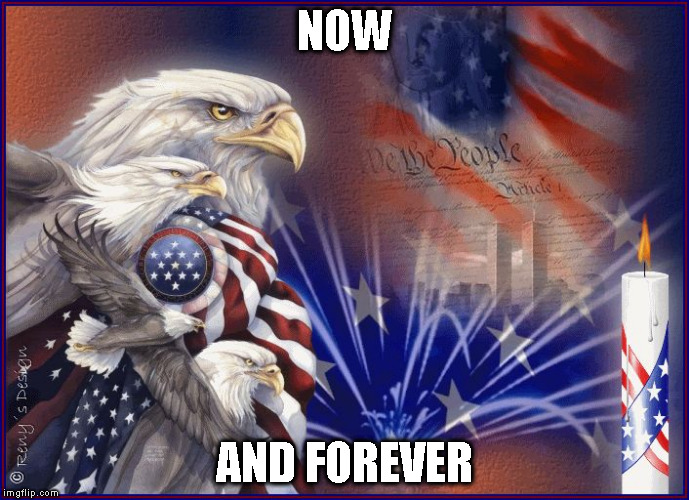 NOW AND FOREVER | image tagged in happy july 4th eagle | made w/ Imgflip meme maker