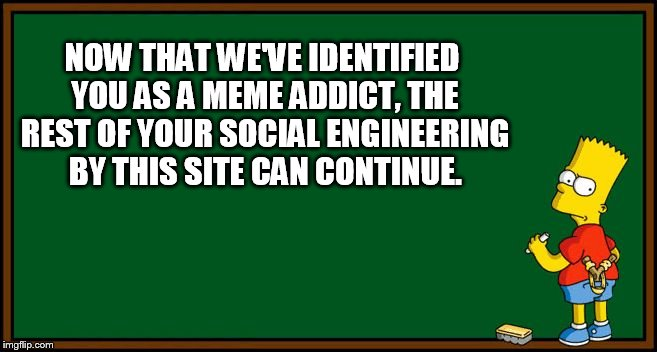 Your Next Step... | NOW THAT WE'VE IDENTIFIED YOU AS A MEME ADDICT, THE REST OF YOUR SOCIAL ENGINEERING BY THIS SITE CAN CONTINUE. | image tagged in memes,bart simpson - chalkboard,identify,meme addict,next,imgflip | made w/ Imgflip meme maker